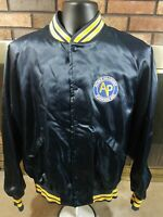 Green Bay Packers Acme NFL Football Satin Snap Jacket Mens Size Large Blue RARE
