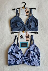 NEW M&S BODY X2  NON WIRED BRALET - SMOOTHING WINGS CONVERTS TO RACER BACK 32DD