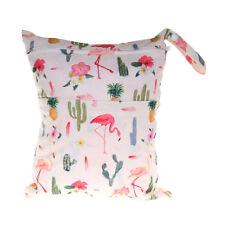 Wet Dry Bag Baby Cloth Diaper Nappy Bag Reusable 2 Zipper Pocket Flamingo Cactus