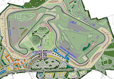 Framed Print - Map of Silverstone F1 Race Track (Picture Poster Motor Racing)