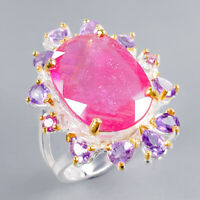 Ruby Ring Silver 925 Sterling Vintage SET17x12mm Size 7.5 /R131401