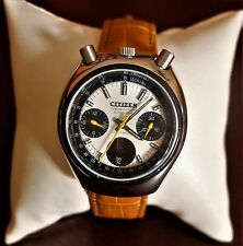 Vintage Citizen Bullhead automatic chronograph watch, panda dial