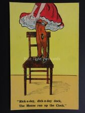 """Comic Postcard STOCKING & SUSPENDERS THEME """"THE MOUSE RAN UP THE CLOCK"""" No.881"""