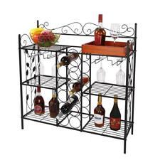 Durable Stand Kitchen Bar Metal Wine Bottle Cup Rack 6 Shelves Holders Storage