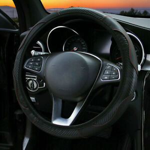 "Black Microfiber Leather Car Steering Wheel Cover Anti-slip Protector 38cm/15"""