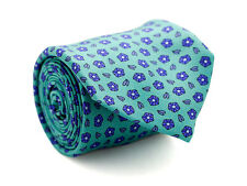 Davidoff 100% Silk Neck Tie in Bright Light Green Aqua Color with Mini Flowers