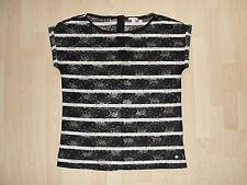 ESPRIT Spitzen Shirt Bluse schwarz weiß gestreift goldener Reißverschluss L