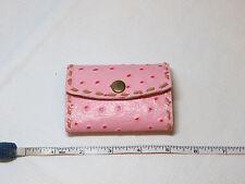 "Handmade leather key holder pink w/ tan stitching 3.5"" X 2.5"" ostrich print"