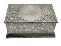 Antique Cross Art Nouveau Sterling Silver on  Bronze Box Humidor Casket ca. 1910
