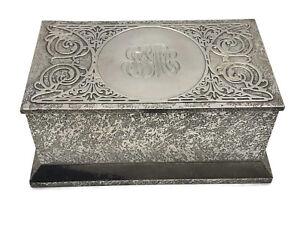 Antique Cross Art Nouveau Sterling Silver on  Bronze Box Humidor Casket 1910 U23