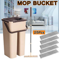 Self Cleaning Drying Wringing Mops Bucket Flat Floor Free Hand Wash Mop Wet Dry