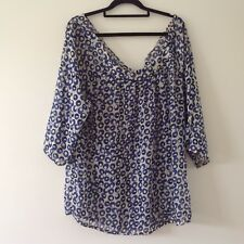CREAM, BLUE, BLACK KAFTAN STYLE TOP SIZE 16, WILL SUIT LARGER