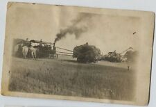 1906 Tractor Farming Threshing Farming Harbine Nebraska Real Photo Postcard RPPC