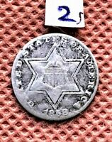 1858 SILVER 3 CENT COIN, EXCELLENT DETAIL SEE PICTURE #2