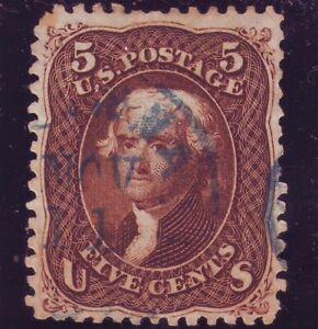 US #75 Dark Red Brown. Beautifully centered w/ Blue CDS. Choice! Scott $455++
