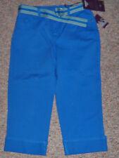 GLORIA VANDERBILT Blue Ultra Stretch Denim Capris Jeans Cuffs with Belt Size 14