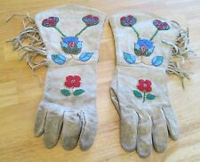 ANTIQUE BEADED ELK? HIDE PLATEAU STYLE GUANTLET GLOVES NATIVE AMERICAN YAKIMA