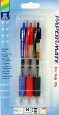 3 x Paper Mate Star Gel Gels Click Gel Pens BLACK BLUE RED Medium 0.7mm New