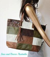 Genuine boho hippie recycled cow leather patchwork tote work women bag 50% OFF