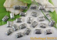 50pcs Tibetan silver floral square spacer bead FC8679