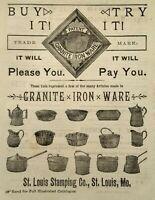 1884 St. Louis Stamping Company Granite Ironware Art Missouri Vintage Print Ad