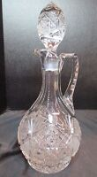 """Stunning American Brilliant Decanter Notched Neck 13 1/8"""" Tall Top of Stopper"""