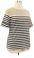 Karen Scott 1X Brown Striped Knit Boat Neck Elbow Sleeve T-shirt