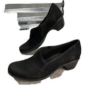 Clarks Bendable Women's Suede Black Block Heel Slip On Comfort Shoe Size 10