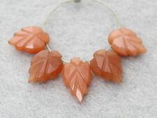 AAA Natural Peach Moonstone Carved Leaf Briolette Gemstone Beads