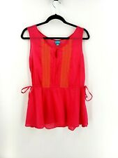 87396e99645 Calypso St. Barth Target Embroidered Cotton Top Peplum Tunic Tank Pink Size  M