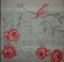 4 x Single  Paper Napkins  Roses Bird for DECOUPAGE  and CRAFTING -35