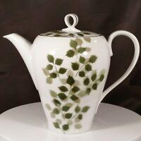 Vintage Fukagawa Arita Porcelain China Teapot Green Willow Leaf Pattern