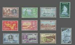 Tonga Sc.#100-110 MH Short Set to 2sh Wmk79  'Queen Salote' Maps of Islands 1953