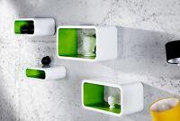Wandregal WALLCUBES  weiss-grün Regal Cubes Cubenset 4er Set Aufbewahrung Würfel