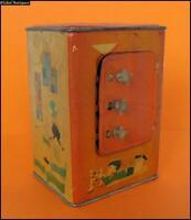 1970s VINTAGE CHILD MONEY BANK SAFE  TIN TOY w/CODE LOCK