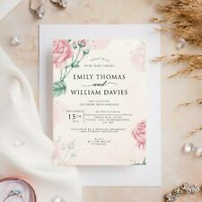 10 Wedding Invitations Day/Evening Watercolour Floral Pink Roses Flowers