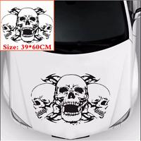 Car Hood Personality Black Triple Skull Graphics Vinyl Decal Sticker 39 * 60CM