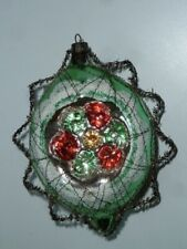 RARE VINTAGE WIRE MESH WRAPPED CHRISTMAS TREE ORNAMENT TEARDROP 16 INDENTS