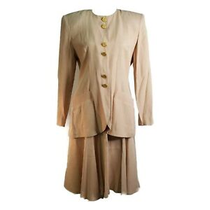 Petite Sophisticate Womens 2 Pc Skirt Suit Size 8 Beige Collarless Shoulder Pads