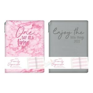 2022 Week To View A5 Family Organiser Flexi Cover Casebound Planner with Pen UK