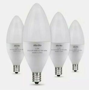 E12 60W 5000K Bulb Albrillo LED Bulbs Candelabra Non-Dimmable Lamp • 4 Pack