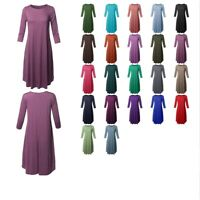 FashionOutfit Women's Casual Solid Viscose 3/4 Sleeve Round Neck Midi Dress