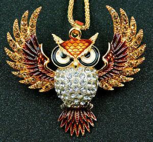 BIG Wonderful WISE Wings OWL Rhinestone Betsey Johnson Topaz Natural NECKLACE