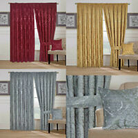 Heavy Jacquard Pencil Pleat Curtains Tape Top Fully Lined + Matching Tiebacks