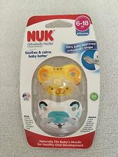 NUK orthodontic pacifier 2 pack 6-18 months silicone animals boy girl