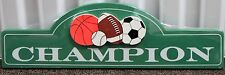 CHAMPION WOODEN WALL PLAQUE Bedroom Sports Soccer Basketball Football Sign NEW