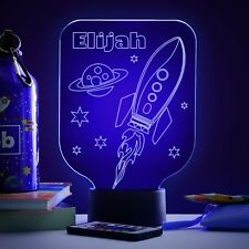 Space Rocket Personalised Kids Room Lamp Colour LED Night Light  Birthday Gift