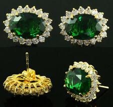 Fashion Jewelry Gems 14K Gold Green Emerald Sapphire Stud lady Beauty Earrings