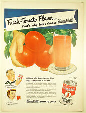 Vintage 1949 CAMPBELL'S TOMATO JUICE Large Full Page Magazine Print Ad