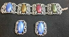 Cuff Bracelet & Clip Earring Set Silver Tone Metal ** Stunning on Wrist **